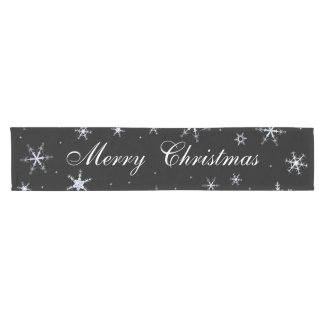 Merry Christmas Black Snowflakes Short Table Runner