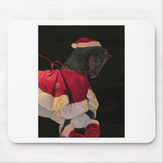 Merry Christmas Black Stallion Horse in Santa Hat Mouse Pad