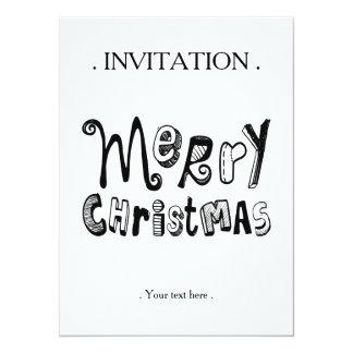 Merry Christmas - black Text Design 14 Cm X 19 Cm Invitation Card