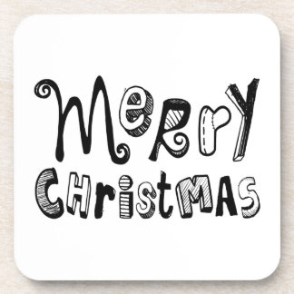 Merry Christmas - black Text Design Coasters