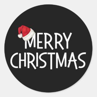 Merry Christmas Black Whimsical Santa Hat Classic Round Sticker
