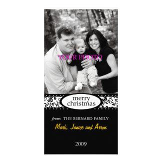 merry christmas black white ribbon photo greeting card