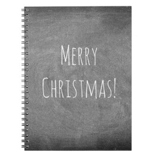 Merry Christmas Black White Typography Chalkboard Spiral Notebook