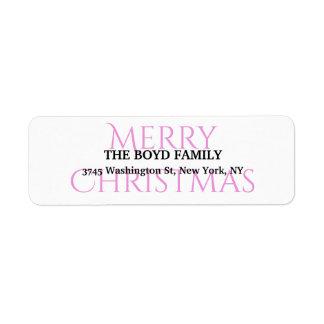 Merry Christmas Black White Unique Classic Family Return Address Label