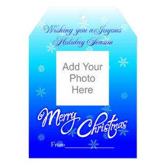 Merry Christmas blue 3 5x7 Invitation Tag