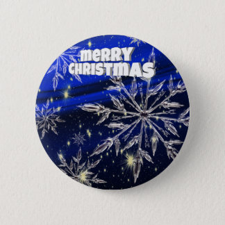 Merry Christmas  blue 6 Cm Round Badge