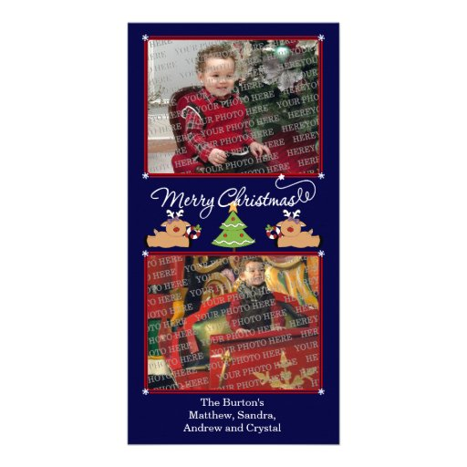 Merry Christmas Blue (Add Your Photos and Text) Custom Photo Card
