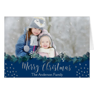 Merry Christmas Blue and Silver Foil Stars Photo Card