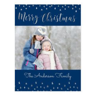 Merry Christmas Blue and Silver Foil Stars Photo Postcard