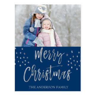 Merry Christmas Blue and Silver Watercolor Photo Postcard