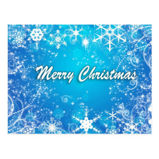 Merry Christmas blue and white snow Postcard