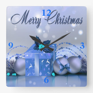 Merry Christmas Blue Baubles Wall Clocks