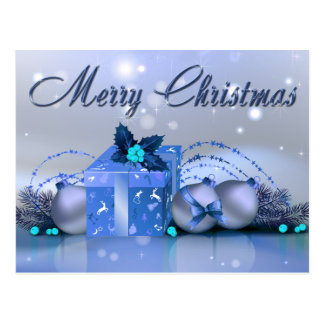 Merry Christmas Blue Baubles Postcard