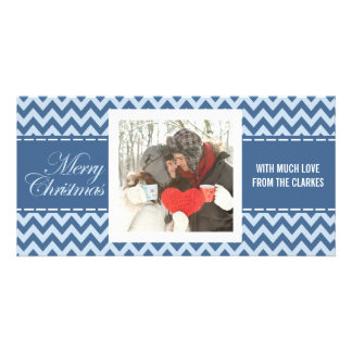 Merry Christmas Blue Chevron Photo Greeting Card