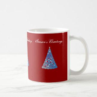 Merry Christmas, blue Christmas trees on red Mugs