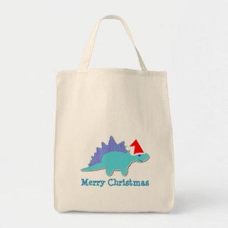Merry Christmas Blue Dinosaur Bag/ Tote