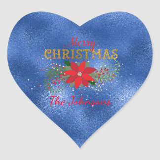 Merry Christmas Blue Emerald Heart Heart Sticker