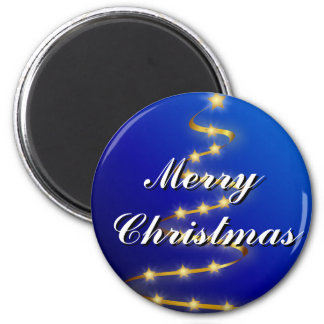 Merry Christmas Blue, Gold Tree Magnet