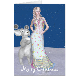 Merry Christmas, blue Greeting Card