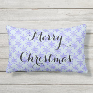 Merry Christmas. Blue lavender stars on pastel ble Outdoor Cushion