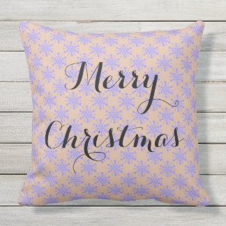 Merry Christmas. Blue lavender stars on taupe Outdoor Cushion