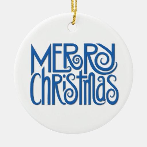 Merry Christmas blue Ornament