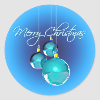 MERRY CHRISTMAS BLUE ORNAMENTS by SHARON SHARPE Round Sticker