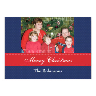 Merry Christmas Blue Photo Template 5x7 Paper Invitation Card