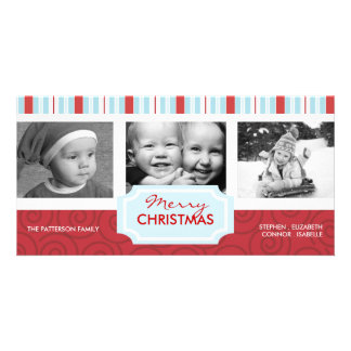 Merry Christmas Blue & Red Holiday Photo Collage Picture Card