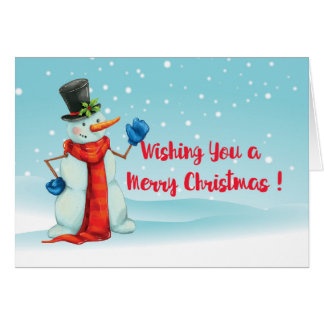 Merry Christmas blue red white Snowman Card