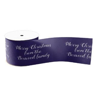 Merry Christmas Blue Seasonal Greeting Custom Text Grosgrain Ribbon