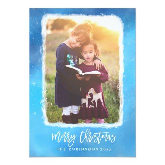 Merry Christmas Blue Snow Modern Scrip Photo Card