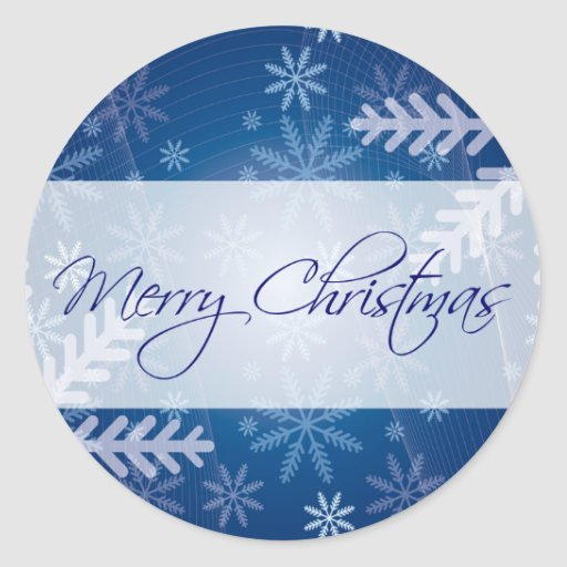 Merry Christmas Blue Snowflake Round Stickers