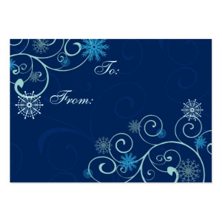 Merry Christmas Blue Snowflakes Gift Tags Business Card Template