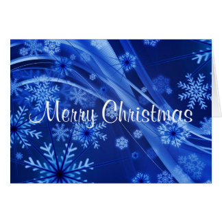 Merry Christmas Blue Snowflakes Greeting Cards