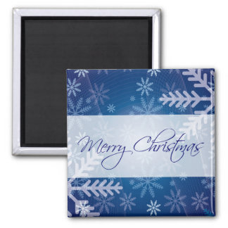 Merry Christmas Blue Snowflakes Magnets