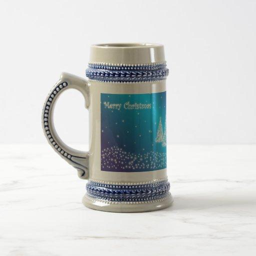 merry christmas blue stein coffee mug