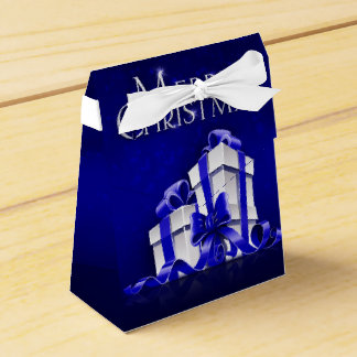 Merry Christmas Blue Tent Party Favor Boxes
