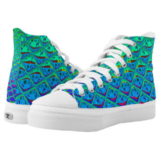 Merry Christmas Blue Waves unique custom Pattern Printed Shoes
