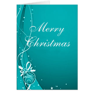 MERRY CHRISTMAS BLUE & WHITE by SHARON SHARPE Greeting Card
