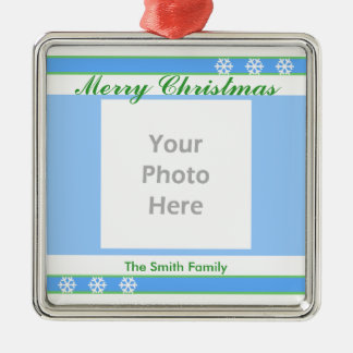 Merry Christmas Blue, White, Green (photo frame) Silver-Colored Square Decoration