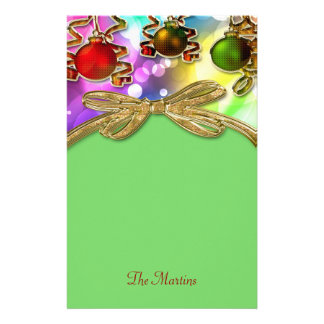 Merry Christmas Bokeh Lights & Baubles Stationery
