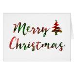Merry Christmas Bokeh Tree Lights Greeting Card