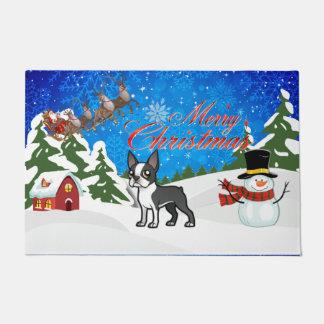 Merry Christmas Boston Terrier Doormat