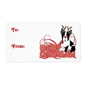 Merry Christmas Boston Terrier Shipping Label