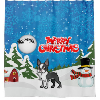 Merry Christmas Boston Terrier With A Snowman Shower Curtain