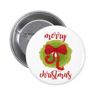 Merry Christmas Bow Wreath 6 Cm Round Badge
