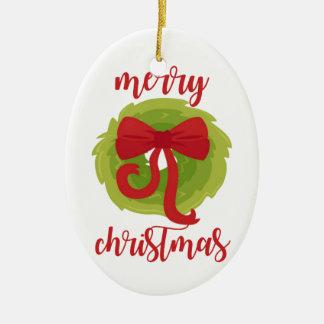 Merry Christmas Bow Wreath Ceramic Oval Decoration