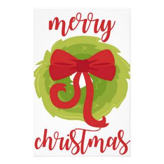 Merry Christmas Bow Wreath Custom Stationery