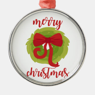 Merry Christmas Bow Wreath Silver-Colored Round Decoration